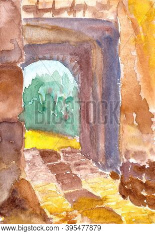 Gates Of An Ancient Mediterranean City, Watercolor Drawing, Travel Sketch