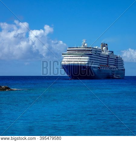 Half Moon Cay, Bahamas - October 31, 2019: The Holland America Line Zuiderdam Cruise Ship Anchored O