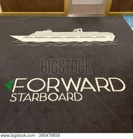 Ft. Lauderdale,fl Usa - November 1, 2019: A Carpet On A Cruise Ship That Designates Which Way Is For
