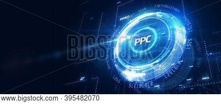 Pay Per Click Payment Technology Digital Marketing Internet Concept Of Virtual Screen. Ppc 3d Illust