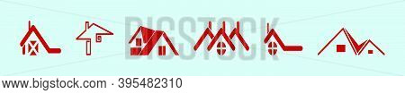 Set Of Roof Top House. Cartoon Icon Design Template With Various Models. Modern Vector Illustration