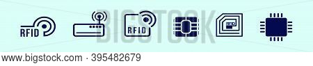 Set Of Rfid Icons Featuring Radio And Radio Waves. Modern Cartoon Icon Design Template With Various