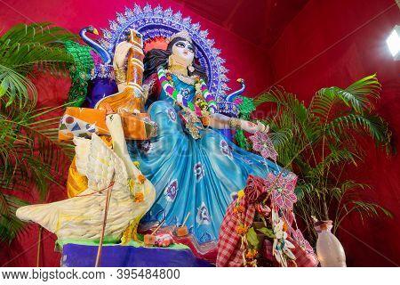 Idol Of Goddess Saraswati At Kolkata, West Bengal, India Is Being Worshipped. Saraswati Is Hindu God