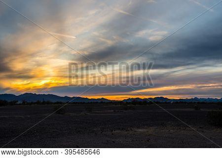Dramatic Vibrant Sunset Scenery In Parker Dam Road, Arizona