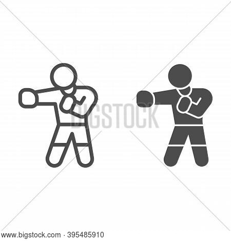 Boxer In Boxing Gloves Line And Solid Icon, Self Defense Concept, Sportsman Sign On White Background