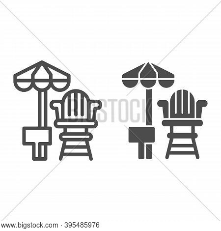 Lifeguard Chair And Beach Umbrella Line And Solid Icon, Aquapark Concept, First Aid And Rescue On Be