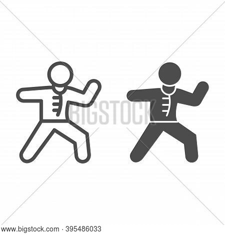 Karate Sportsman Line And Solid Icon, Self Defense Concept, Karate Kick Sign On White Background, Ma