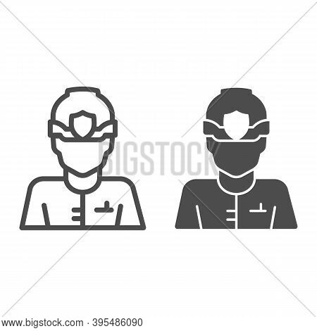 Police Officer In Helmet Line And Solid Icon, Law Enforcement Concept, English Police Sign On White