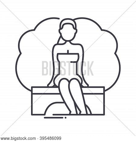 Stream Sauna Icon, Linear Isolated Illustration, Thin Line Vector, Web Design Sign, Outline Concept