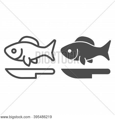 Fish And Knife Line And Solid Icon, Fish Market Concept, Seafood Restaurant Emblem Sign On White Bac