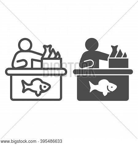 Seller In Fish Store Line And Solid Icon, Fishing Concept, Fish Market With Seller And Seafood Sign