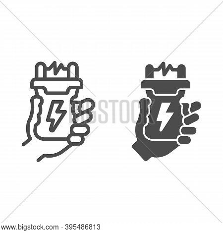 Stun Gun In Hand Line And Solid Icon, Self Defense Concept, Electric Shock In Arm Sign On White Back