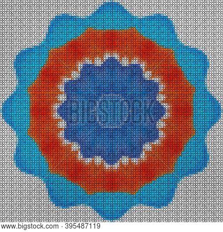 Illustration Cross Stitch Mandala From Flowers. Cross-stitch Floral Collage. Mandala - Symbol Of Med