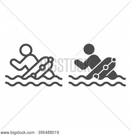 Man With Lifebuoy In Water Line And Solid Icon, Aquapark Concept, Life Preserver Sign On White Backg