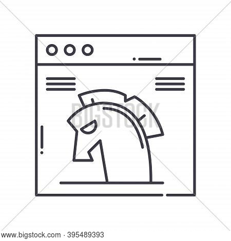 Trojan Icon, Linear Isolated Illustration, Thin Line Vector, Web Design Sign, Outline Concept Symbol