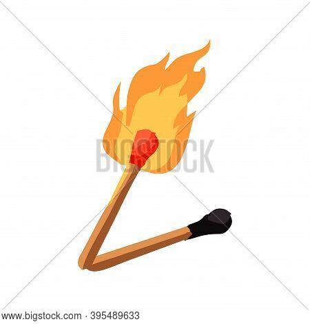 Burning Matchstick - Vector Illustration Isolated On White Background.