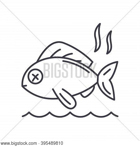 Stinky Fish Icon, Linear Isolated Illustration, Thin Line Vector, Web Design Sign, Outline Concept S