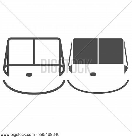 Hockey Goal Line And Solid Icon, Winter Sport Concept, Gates Goalie For The Game Of Hockey Sign On W