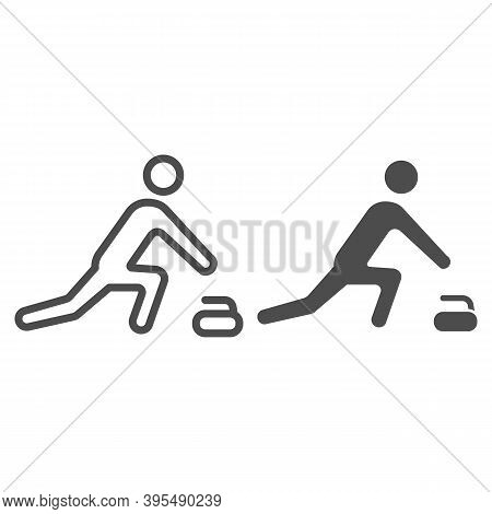 Curling Player Line And Solid Icon, Winter Sport Concept, Curling Sport Game Sign On White Backgroun