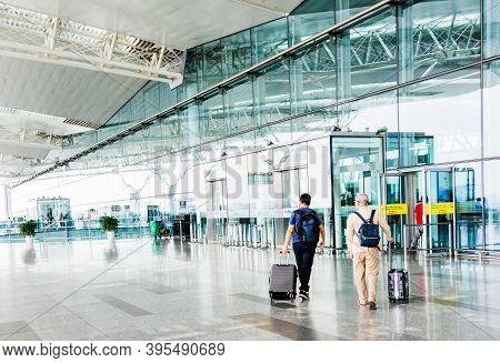 Hanoi,vietnam 27 Oct 2019 - Traveller Walking In Front Of Departure Hall At The Hanoi International