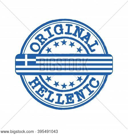 Vector Stamp Of Original Logo With Text Hellenic And Tying In The Middle With Nation Flag. Grunge Ru