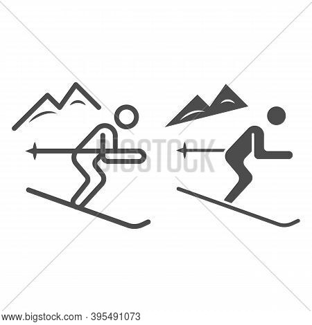 Downhill Skiing Line And Solid Icon, Winter Sport Concept, Snow Skiing Sign On White Background, Ski