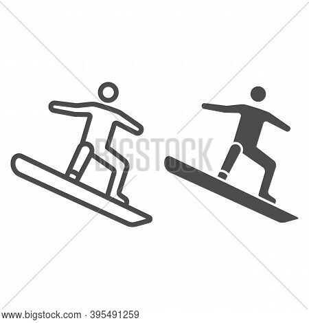 Freestyle Snowboarding Line And Solid Icon, Winter Sport Concept, Snowboarder Jumping Sign On White