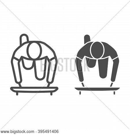 Skeleton Athlete Line And Solid Icon, Winter Sport Concept, Skeleton Sportsman Sign On White Backgro