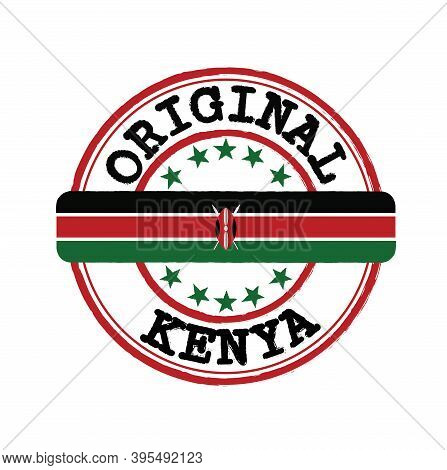 Vector Stamp Of Original Logo With Text Kenya And Tying In The Middle With Nation Flag. Grunge Rubbe