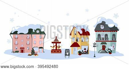 Collection Of Winter Houses. Frozen Urban Architecture With Snow Caps On Roofs And Cosy View In Wind