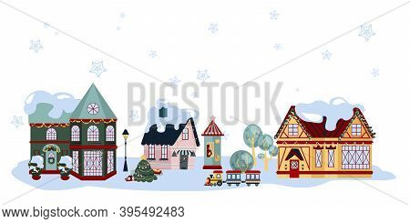 Collection Of Small City Houses. Frozen Urban Architecture With Snow Caps On Roofs And Chimney,  Jol