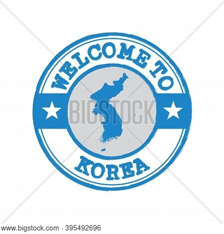 Vector Stamp Of Welcome To Korea With Map Outline Of Korean Peninsula In Center. Grunge Rubber Textu