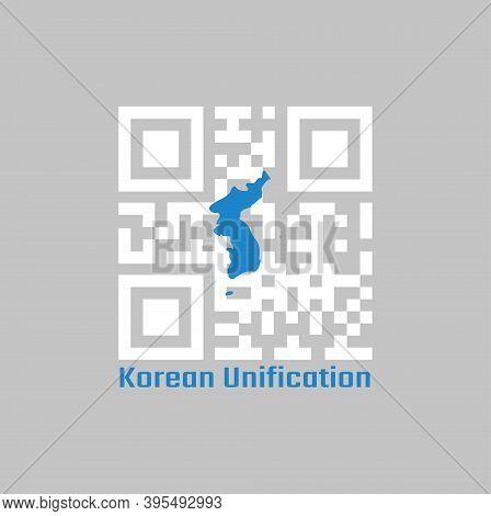 Qr Code Set The Color Of White And Blue South Korea  Korean Peninsula. The Korean Unification Flag,