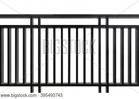 Black Iron Fence Isolated On A White Background