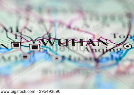 Shallow Depth Of Field Focus On Geographical Map Location Of Wuhan City China Asia Continent On Atla