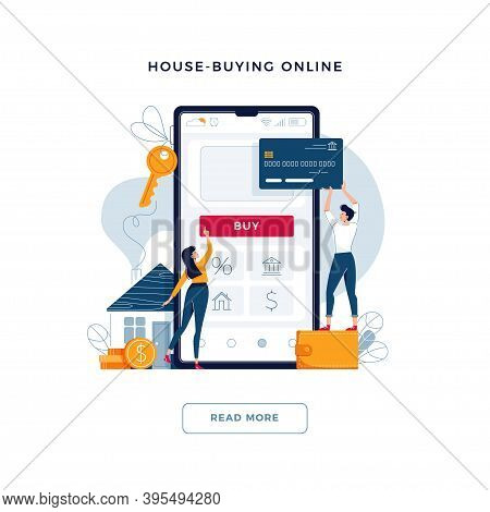 House-buying Online Banner. Couple Buy A Home Paying By Credit Card. Mortgage, Dealing House, Proper