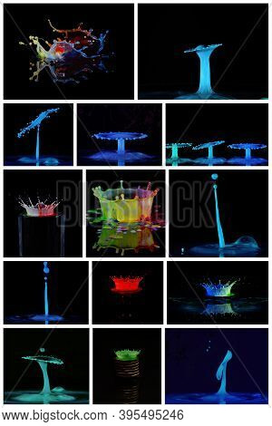 Collage Of Water Drop Images Forming Spouts, Crowns, Umbrellas And Splashes - Liquid Drop Art
