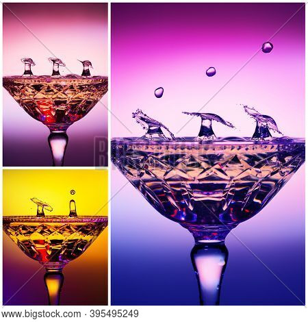 Collage Of Water Drops Splashed Into A Crystal Champagne Glass Forming Simultaneous Umbrella Shapes
