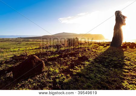 Standing Moai At Sunrise In Easter Island