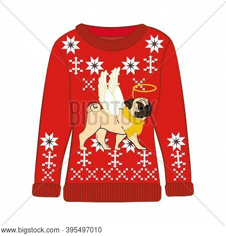 Christmas Ugly Sweater With Pug In Christmas Costume Vector Illustration