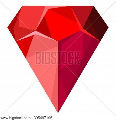 Ruby Gemstone Or Red Diamond. Jewellery Cartoon Stone. Precious Stone Icon. Luxury Symbol Isolated O