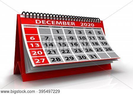 December 2020 Calendar Isolated On White Background. Spiral Calendar December 2020. 3d Illustration