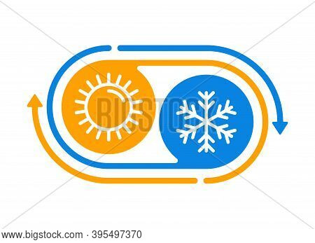 Hot And Cold Weather Climat Change Cycle - Flat Pictogram With Symbols Of Sun And Snowflake - Climat