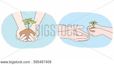 Ecology, Environment Protection And Gardening Concept. Human Hands Holding Piece Of Ground With Litt