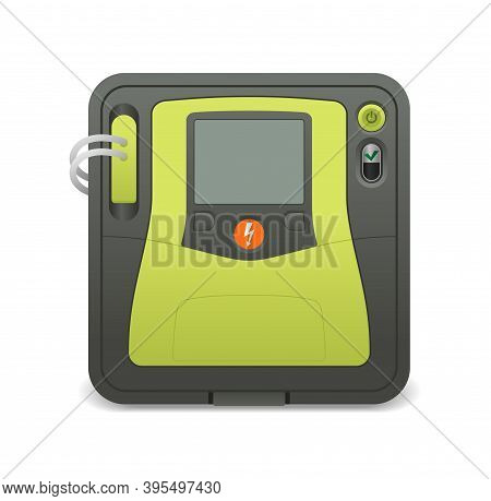 Automated External Defibrillator Device - Aed Icon -  Isolated Realistic Medical Equipment