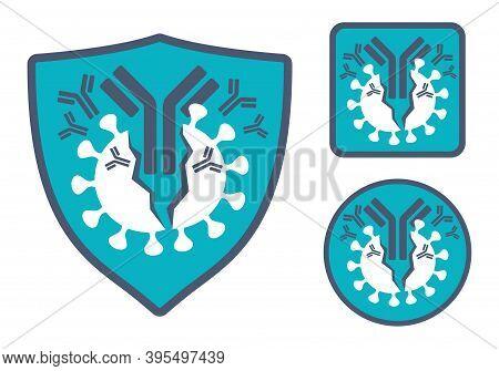 Antibody (immunoglobulin) Health Protection Emblem Or Icon - Y-shaped Protein Destroying Pathogens -