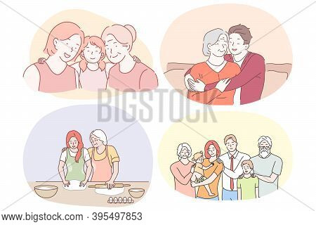 Grandmother And Grandchild, Happy Family With Grandparents Concept. Happy Smiling Grandparents Helpi