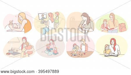 Mother And Child, Motherhood, Home Activities With Children Concept. Young Women Mothers Feeding, Pl