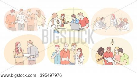 Teamwork, Communication, Brainstorming In Office Concept. Business People Partners Coworkers Discuss