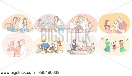 Happy Family, Parenthood, Enjoying Time With Children Concept. Young Happy Families With Kids Playin